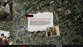 À medida que o usuário arrastava a o mapa, com a mesma física do Google Maps, ele ia descobrindo novas informações sobre o filme.