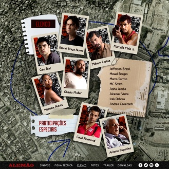 Fotos dos atores coladas como no mapa que aparece dentro do filme.